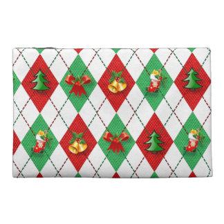 Christmas Argyle Travel Accessory Bags