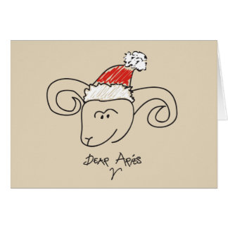 Christmas Aries Astrology Horoscope Red Cool Card