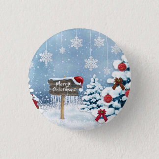 Christmas art - christmas illustrations 1 inch round button