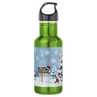 Christmas art - christmas illustrations 532 ml water bottle