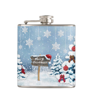 Christmas art - christmas illustrations hip flask