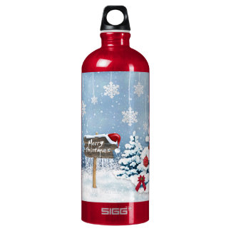 Christmas art - christmas illustrations water bottle
