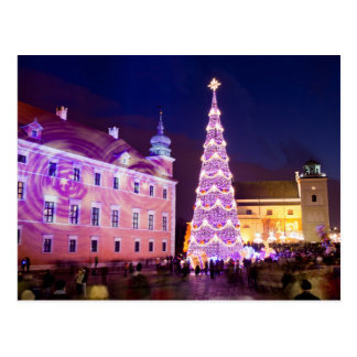 Christmas at Castle Square in Old Town of Warsaw Postcard