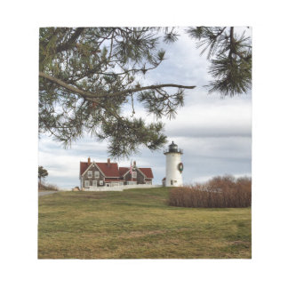 Christmas at Nobska Lighthouse Cape Cod Gifts Notepad