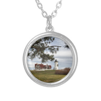 Christmas at Nobska Lighthouse Cape Cod Gifts Silver Plated Necklace