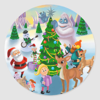Christmas at the North Pole Classic Round Sticker