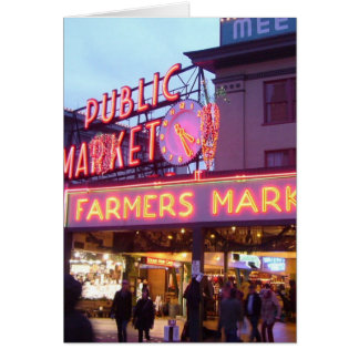 Christmas at the Pike Place Market Seattle Greeting Card