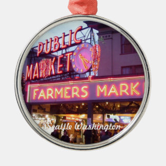 Christmas at the Pike Place Market Seattle Silver-Colored Round Ornament