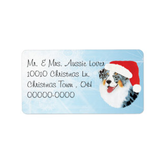 Christmas Australian Shepherd Address Label