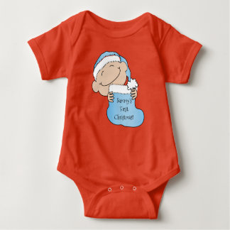 "Christmas Baby Boy ""First Christmas"" Baby Bodysuit"