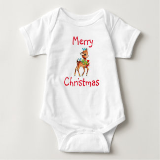 Christmas Baby Jersey Bodysuit/Rudolph and Birds Baby Bodysuit
