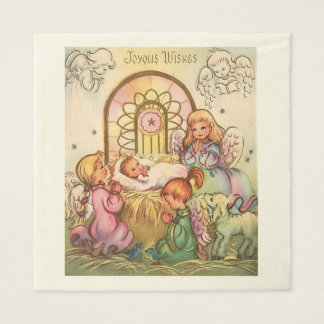 Christmas  Baby Jesus in Manger Angels Disposable Napkin