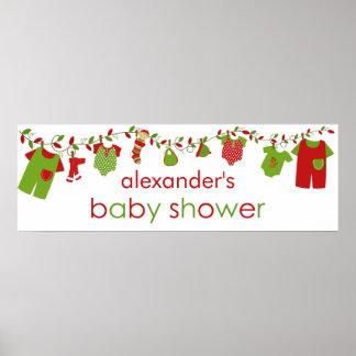 Christmas Baby Laundry Boy Baby Shower Banner Print