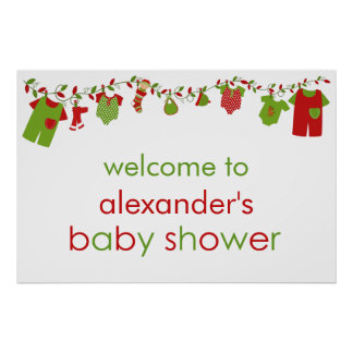 Christmas Baby Laundry Boy Baby Shower Poster