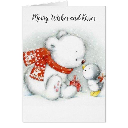 Christmas Baby Polar Bear Kissing Bird Card