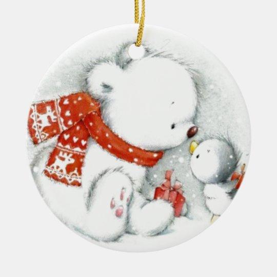 Christmas Baby Polar Bear Kissing Bird Ceramic Ornament