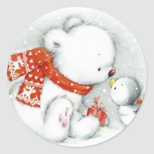 Christmas Baby Polar Bear Kissing Bird Classic Round Sticker