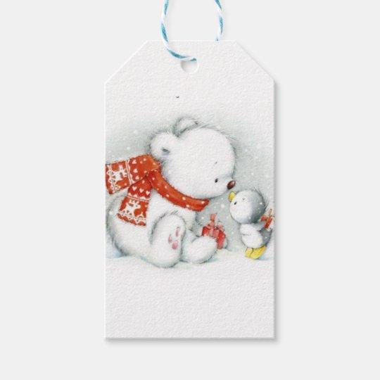 Christmas Baby Polar Bear Kissing Bird Gift Tags