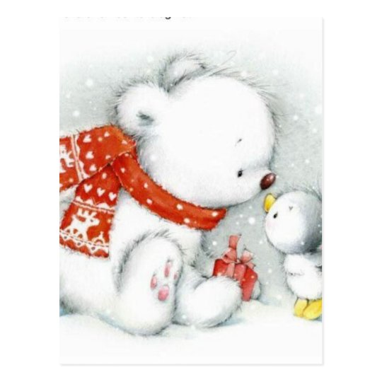 Christmas Baby Polar Bear Kissing Bird Postcard