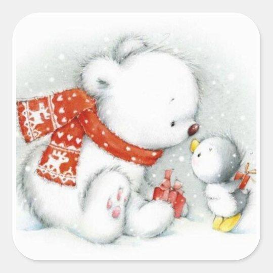 Christmas Baby Polar Bear Kissing Bird Square Sticker