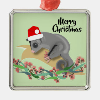 Christmas Baby Sugar Glider Metal Ornament