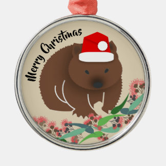 Christmas Baby Wombat Metal Ornament