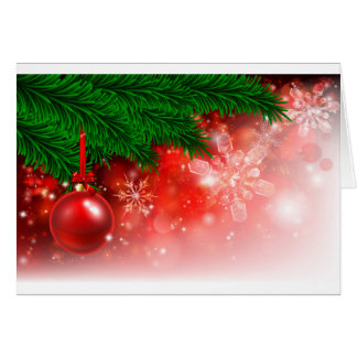 Christmas Background Red Tree Bauble Card