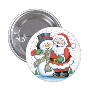 Christmas badge: Santa and Snowman hugging 1 Inch Round Button