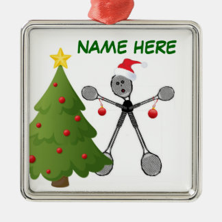Christmas Badminton Player Metal Ornament
