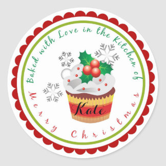Christmas Baking Cupcake stickers