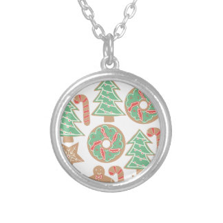 Christmas Baking Print Silver Plated Necklace