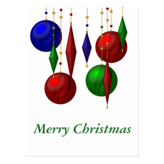 christmas ball on white background postcard