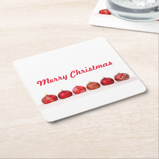 Christmas Ball Ornaments Square Paper Coaster