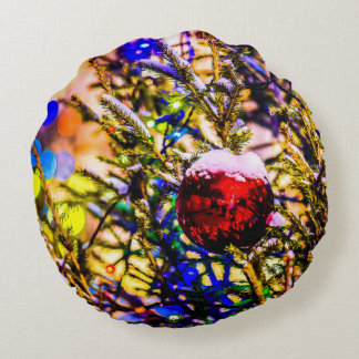 Christmas Ball Red Round Pillow