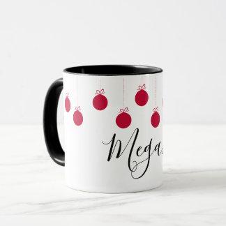 Christmas Balls Ornaments Red White Name Mug
