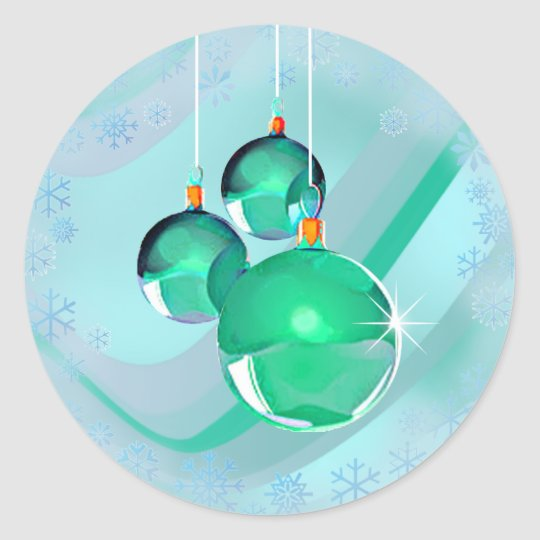 CHRISTMAS BALLS & RIBBON by SHARON SHARPE Classic Round Sticker