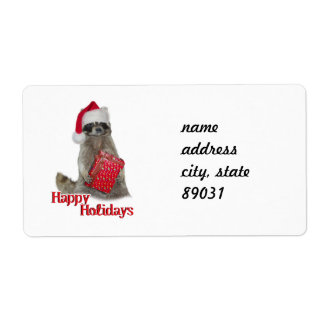 Christmas Bandit Raccoon with Present Shipping Label