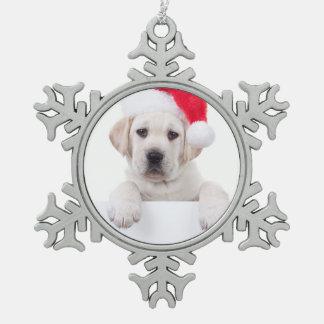 Christmas Banner Dog Snowflake Pewter Christmas Ornament