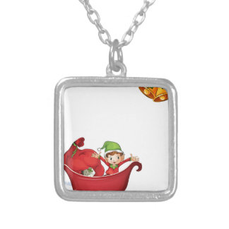 Christmas banner silver plated necklace