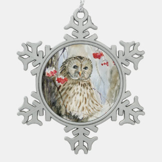 Christmas Barred Owl Pewter Snowflake Ornament