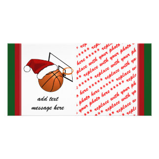 Christmas Basketball  and Hoop Picture Card