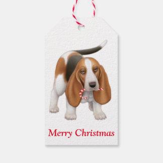 Christmas Basset Hound Dog Gift Tags