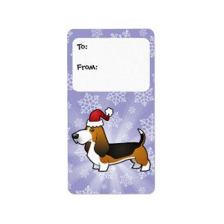 Christmas Basset Hound Gift Tags