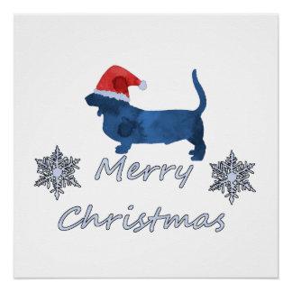 Christmas Basset hound Poster
