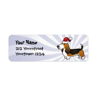 Christmas Basset Hound Return Address Label