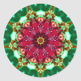 Christmas Bauble Fractal Classic Round Sticker