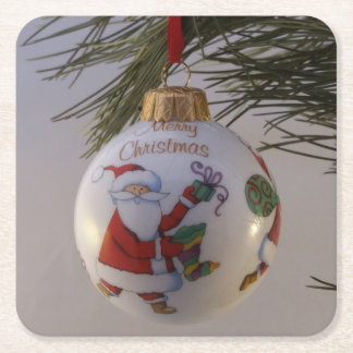 Christmas Bauble Square Paper Coaster