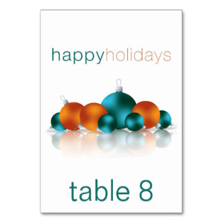 Christmas bauble table cards