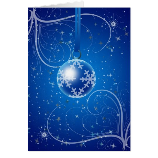 Christmas Bauble with stars and snow Card