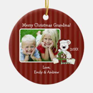 Christmas Bear Grandma Photo Personalized Round Ceramic Ornament